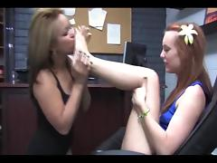 Lesbian licks her redhead friends feet and soles