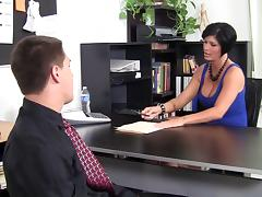 MILF with an amazing figure gets fucked on her office desk