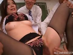 Sultry Asian slut with glasses enjoying a hardcore gangbang