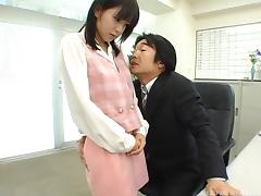 Asian office girl's job is to be used as a submissive fuck toy
