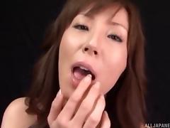 Charming Japanese sex doll deepthroats a boner in pov then swallows cum