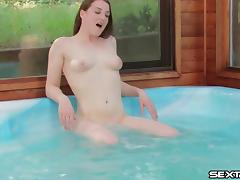 Perverted dark-haired dame toy fucks her cunt in the pool and in POV