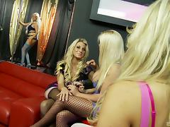 Blonde bimbos in skintight dresses have group sex at the strip club