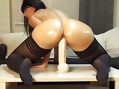 I fucked a huge dildo in my homemade solo porn video