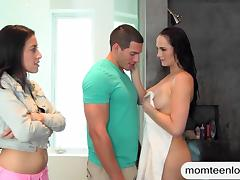 Sexy stepmom Bianca Breeze threesome sex in the bedroom