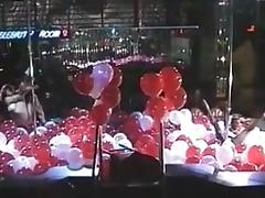 Pole dance and lesbian show with balloons