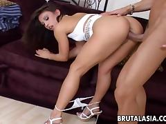 Very hot brunette hottie with a fine ass gets thrashed