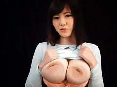 Huge natural breasts are a bouncy treat on a Japanese babe