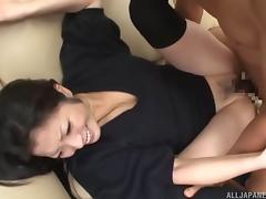 Slutty Asian babe grabs her titties tight as she excites the hardcore pounding against her hairy pussy