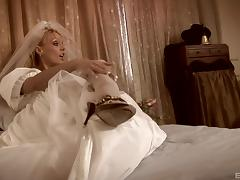 Beautiful bridal gown on a busty babe fucking in a hotel room
