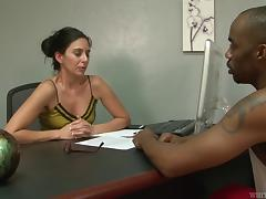 Limber skinny girl goes black and he makes good use of her pussy