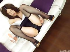 Soft satin panties and blue pantyhose on a solo Japanese girl