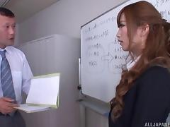 At work with a hot Japanese secretary that craves his dick