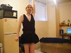 Amateur Transsexual In Black Dress Teasing