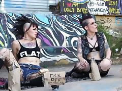 Hot punk with a mohawk fucked in torn up stockings