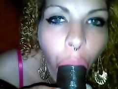 White chick sucking her master dick