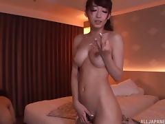 Busty Asian slut in a swimsuit has her hairy cunt drilled good