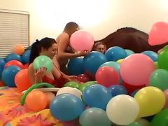 Three lesbains having sex with ballons