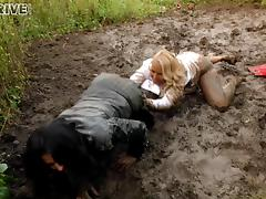 Wild lesbian hussies get dirty and enjoy group sex outdoors