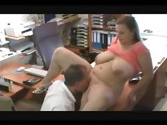 chubby wife cheats in office, very hot