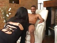 Black guy drills latina shemale and cums on her tits