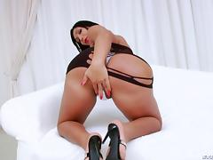 Fat ass Latina tgirl has a big dick she strokes gently