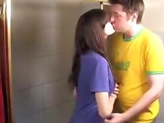 Excited pair engulf and fuck beneath the shower.