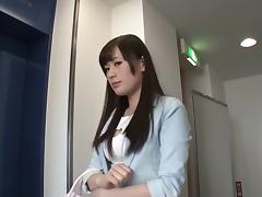 Cute Japanese pornstar and a total stranger have sex on camera