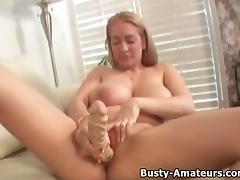 Breasty non-professional Kalis masturbates her vagina with large toy