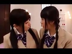 Japanese Teen beauties gag on dildo's