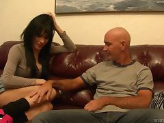 Hot tranny blown and fucked by a horny bald dude