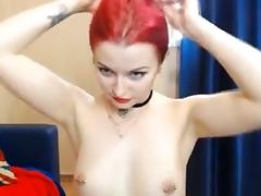 Tattooed Readhead babe Suck and Fuck her Toy