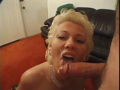 Short haired blonde milf sucks dick
