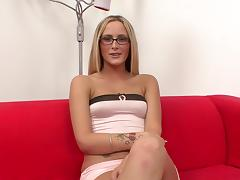Handjob from a glasses girl with small tits is very sexy