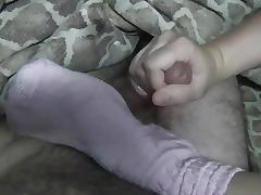 sockjob, sockfuck and footjob in immodest pink slouch socks