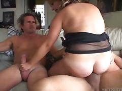 Milf with tanlined tits and hairy cunt gets facial after Mmf threeway