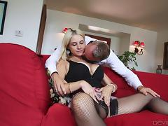 Big tit blonde in slutty stockings has her trimmed cunt fucked deeply