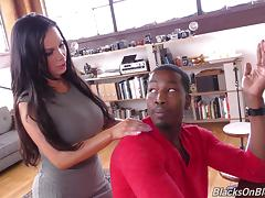 A hung black guy lays the pipe to a busty white girl