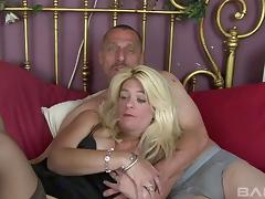 Mercilessly penetrating a blonde slut in black stockings