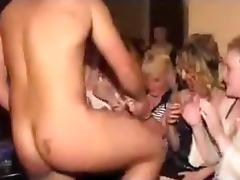 Shitloads of girls suck the stripper's dick on a bachelor night