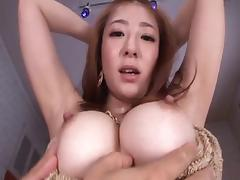 Japanese babe Minori Hatsune has great tits and a sucking mouth