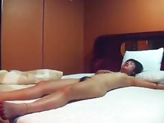 Nerdy asian guy can't believe he's finally getting laid. check his reaction after the sex !!!
