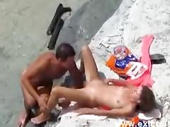Voyeuring horny nudist Couple on the beach