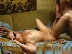 Russian girl afraid of a pink eye only fucks her bf with sunglasses on her face