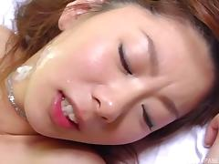 Perky Japanese tits turn him on for a hardcore fuck