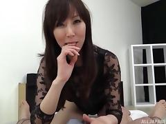 Giving Asian girl rims his ass, licks his balls and jacks him off