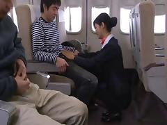 Very luscious Japanese stewardess gets screwed hardcore while on board