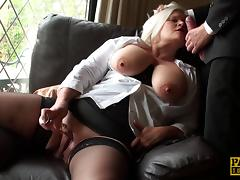 Blonde granny with big boobs being teased by a kinky man
