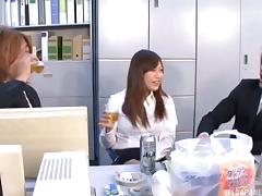 Hairy Japanese secretary gets fucked in the office by two men
