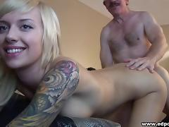 Tattooed slender blonde hottie likes hardcore sexual encounters